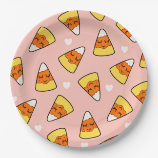 Candy Corn Heart Pattern Pink 9 Inch Paper Plate