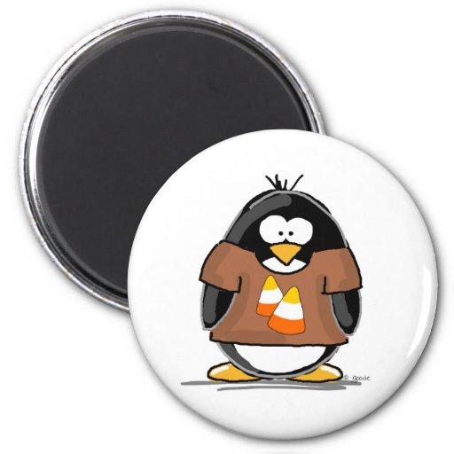 Candy Corn Penguin Fridge Magnet