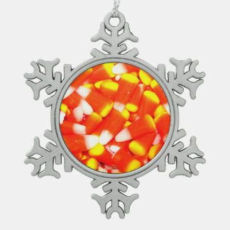 Candy Corn Snowflake Pewter Christmas Ornament