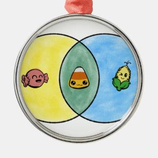 Candy Corn Venn Diagram Metal Ornament