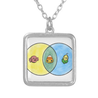 Candy Corn Venn Diagram Silver Plated Necklace