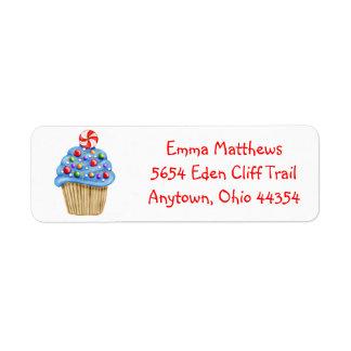 Candy Cupcake  Return Address Labels