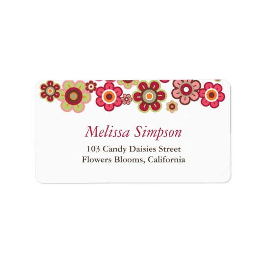 Candy Daisies Flowers Blooms Baby Address Labels