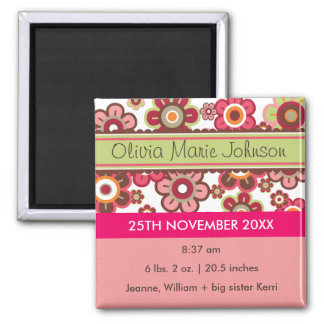 Candy Daisies Pattern Birth Announcement Magnet