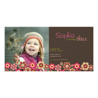 Candy Daisies Pattern Birthday Invite Photo Card Photo Card Template