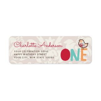 Candy Damask Chick Girl 1st Birthday Address Label