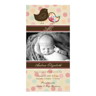 Candy Damask Chicks Birth Announcement Photo Card