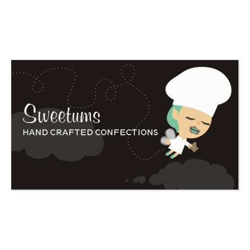 Candy fairy chef eating chocolate business cards