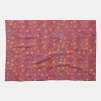 Candy Field, abstract floral pattern, pink orange Kitchen Towel