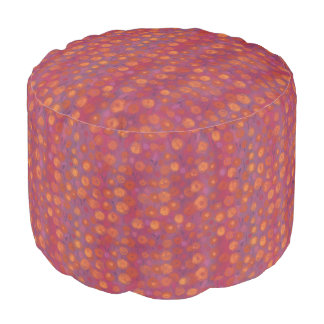 Candy Field, abstract floral pattern, pink orange Pouf