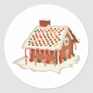Candy Gingerbread Cottage Xmas Holidays Christmas Classic Round Sticker