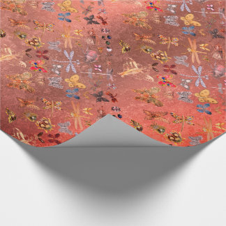 Candy Gold Meadow Butterfly Insects Gems Diamond Wrapping Paper