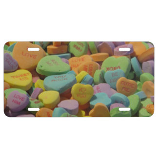 Candy Heart Be Mine I love you Texture Template License Plate