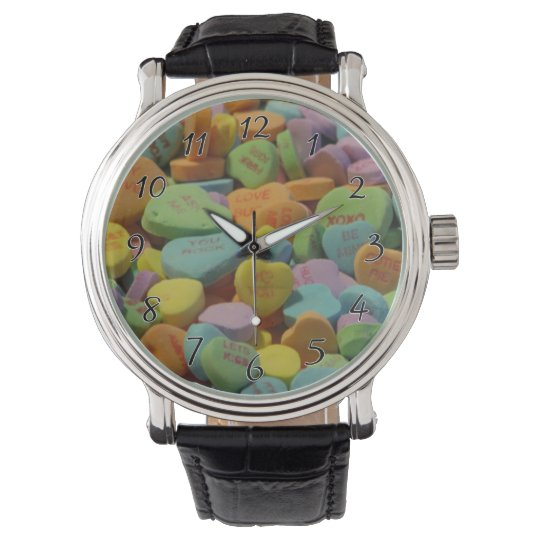 Candy Heart Be Mine I love you Texture Template Wristwatches