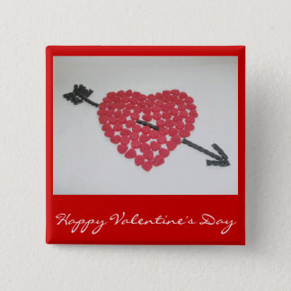Candy Heart Happy Valentine's Day Badge 2 Inch Square Button