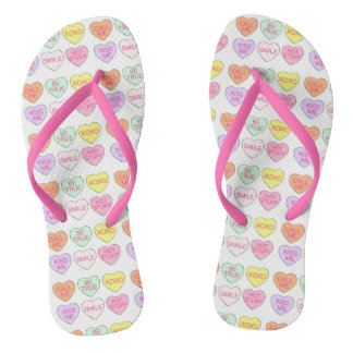 Candy Heart Hearts Love Valentine's Day Flip Flops