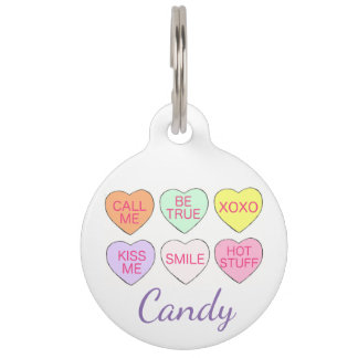 Candy Heart Hearts Personalized Valentine Dog Tag