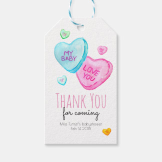 Candy Heart Valentines Baby Shower Thank you tag