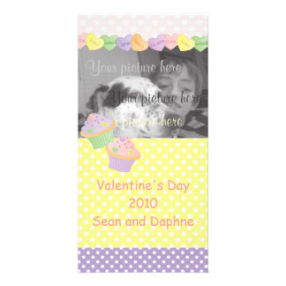 Candy Hearts Cupcakes Photo Card Template