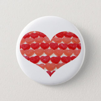 Candy Hearts In A Row, Heart Shaped 2 Inch Round Button