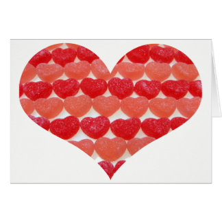 Candy Hearts In A Row, Heart Shaped Blank Card
