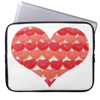 Candy Hearts In A Row, Heart Shaped Laptop Sleeve