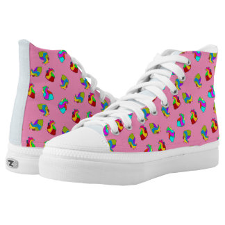 Candy hearts on pink high tops