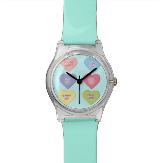 Candy Hearts Sayings Wrist Watches