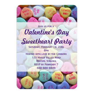 Candy Hearts Valentine's Day Party Invitations