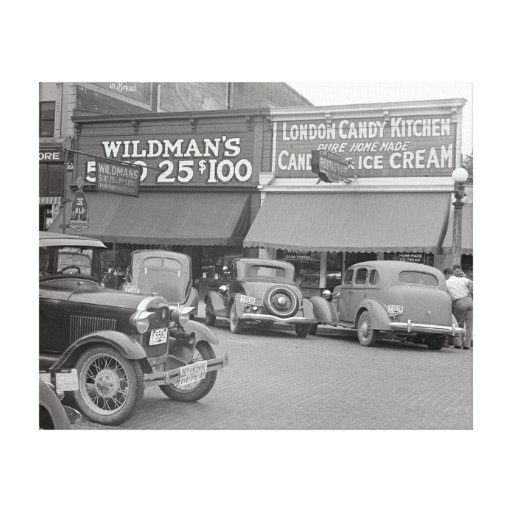 Candy & Ice Cream Shop, 1938 Stretched Canvas Print