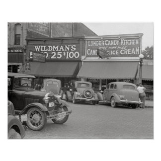 Candy & Ice Cream Shop, 1938 Poster