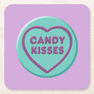 Candy Kisses Square Paper Coaster
