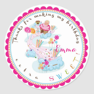 Candy land Birthday Stickers
