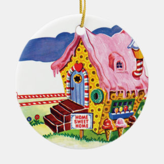Candy Land Ginger Bread House Ceramic Ornament