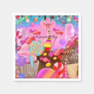 Candy Land Party Fantasy Birthday Personalized Paper Napkins