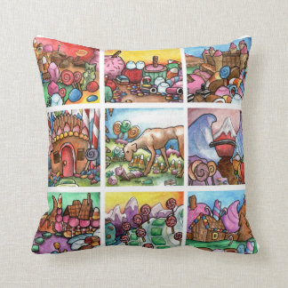 Candy land sweets throw cushion square pillow