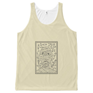 Candy Mummy Black Line Art Design All-Over-Print Tank Top