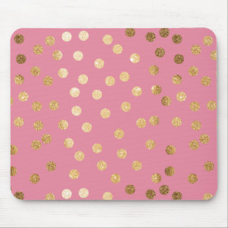 Candy Pink and Faux Gold Glitter Dots Mouse Pad