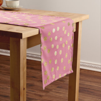 Candy Pink and Gold Glitter City Dots Short Table Runner