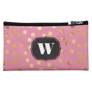 Candy Pink and Gold Glitter Dots Custom Monogram Cosmetics Bags