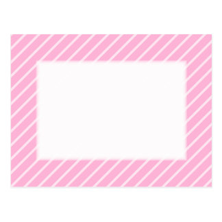 Candy Pink Diagonal Striped Pattern. Postcard