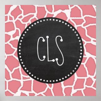 Candy Pink Giraffe Animal Print Retro Chalk