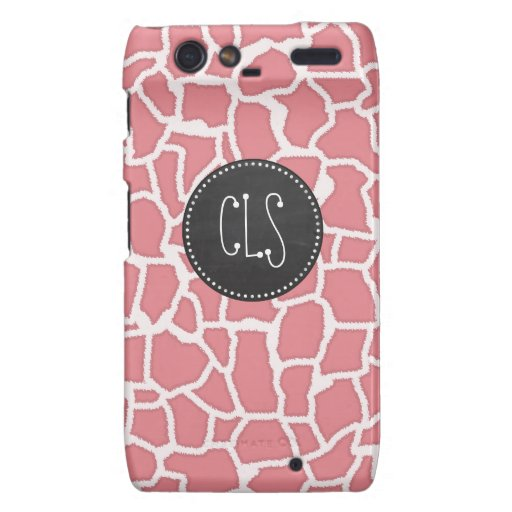 Candy Pink Giraffe Animal Print; Retro Chalk Droid RAZR Case