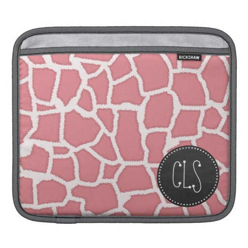 Candy Pink Giraffe Animal Print; Retro Chalk Sleeves For iPads