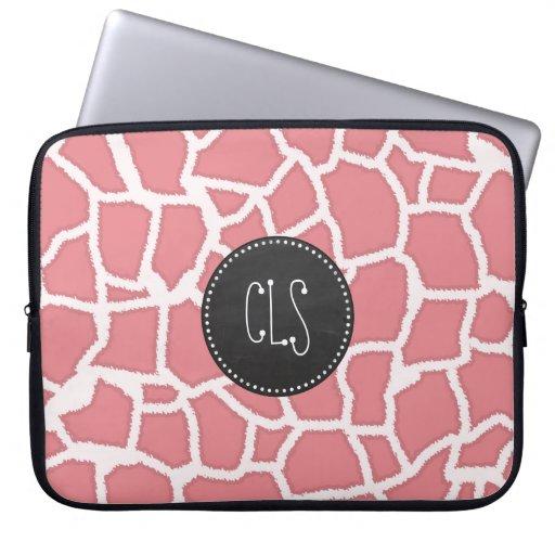 Candy Pink Giraffe Animal Print; Retro Chalk Laptop Sleeves