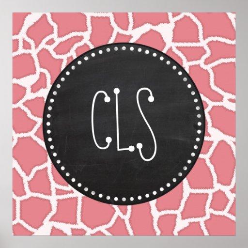 Candy Pink Giraffe Animal Print; Retro Chalk