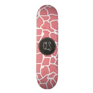 Candy Pink Giraffe Animal Print; Retro Chalk Skateboards