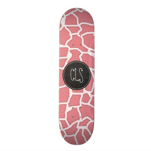 Candy Pink Giraffe Animal Print; Retro Chalk Skateboards