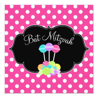 Candy Pink Polka Dot Bat Mitzvah Invitations