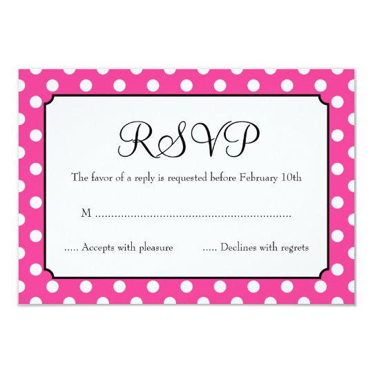 Candy Pink Polka Dot Bat Mitzvah RSVP Card